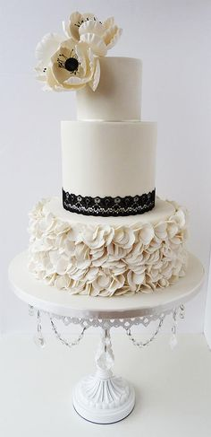 Bespoke designer custom wedding cakes Scotland, Edinburgh, Glasgow / White Black Ivory Wedding Color Palette // White Chandelier Cake Stand created & sold by Opulent Treasures