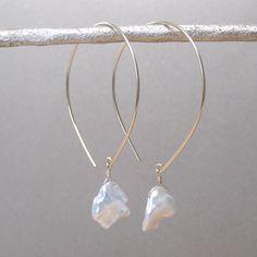 Handmade Gold Filled Keshi Pearl Open Hoop Earrings