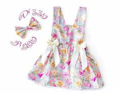 Pink floral baby/girls adjustable pinafore summer dress and bow headband set, birthday dress, baby gift, birthday outfit, baby shower gift