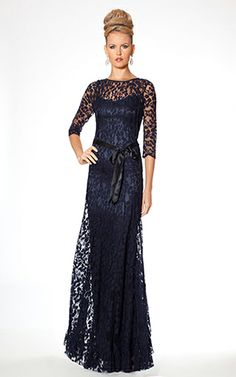 Same as the pink dress.  I think it looks better with the sash tied in the back as in video. Navy 3/4 Sleeve Evening Gown With Lace Overlay