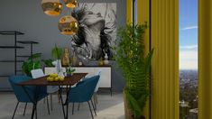 Colours - Dining room - by JarkaK Dining Room Colors, Standing Mirror, Curtain Sets, French Style, Dining Chairs, Sketches, Colours, Retro, Interior