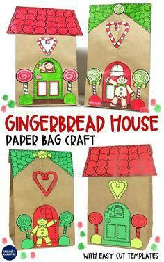 Gingerbread House Craft And Gift Bag Christmas Is Cool Pinterest
