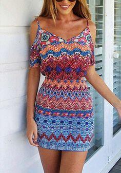 I love this Ethnic-Print Cold Shoulder Dress! | Lookbook Store