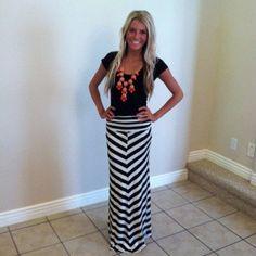 Chevron Black and White Long Maxi Skirt