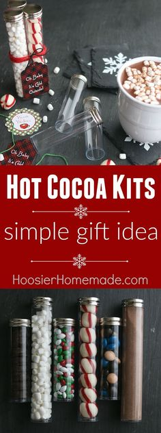 This adorable Christmas Gift is perfect for teachers, neighbors, co-workers and more! Fill with your favorite Hot Chocolate toppings! Put together these Hot Cocoa Kits in minutes! Add a special mug and you have a great affordable Christmas gift idea!