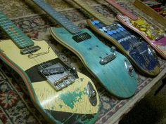 Skateboard Guitars: If you have a skateboarder in your family, why not find a use for the old skateboard decks? Check out the coolest guitars, you'll envy what they made for surely.