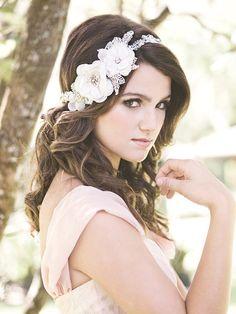 Floral lace headpiece, Wedding beaded headband, silk flower headwrap, rhinestone head piece, wedding hair accessories, bride hair - Grâce