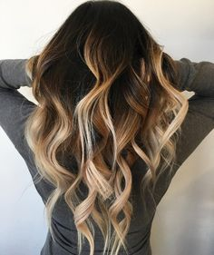 High contrast hand painted balayage sombre done by owner Kit - Yelp Hair Color And Cut, Ombre Hair Color, Hair Colors, Love Hair, Gorgeous Hair, Coiffure Hair, Ombre Blond, Brunette Hair, Hair Highlights