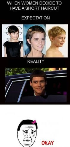 Ok I love women with short hair but this is pretty funny :)!!