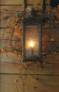 Fall Decor ~ Bittersweet around lantern Autumn Decorating, Porch Decorating, Decorating Ideas, Decor Ideas, Primitive Fall, Fall Harvest, Harvest Moon, Autumn Home, Autumn Fall