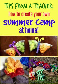 Fun summer camp outdoor activities, snacks, and crafts that any mom can do at home with the kids. Save money and have fun this summer!
