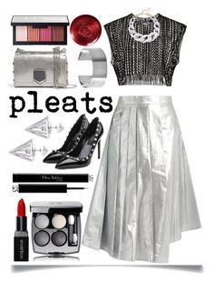 """Pleated Metallic Skirt"" by ittie-kittie ❤ liked on Polyvore featuring A.W.A.K.E., Jimmy Choo, Valentino, Edge of Ember, Chanel, Christian Dior, Smashbox, NARS Cosmetics, Maria Dorai Raj and Kenneth Jay Lane"