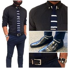 Today's fit - black and blue  Keeping things a bit more formal today in a darker color combo. Some are hesitant to pair black and blue, I think they go great together. Balancing the both in subtle plaid and bold stripes. The rest is clean and classic in silver. If I could wear this fit everyday, I would... That's how much I like It.