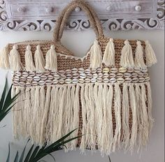 Beach basket with tassel and shell trim by EllennJames on Etsy