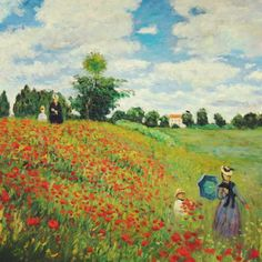"""""""I am following Nature without being able to grasp her...I perhaps owe having become a painter to flowers"""" -Monet. artwork - Poppies.   www.facebook.com/thirddimeart"""
