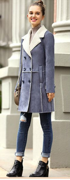 Notch Lapel Double Breated Loose Suede Coat