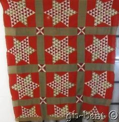Graphic c 1880s Star Antique QUILT Top Tiny pieces RED Green, eBay, gb-best