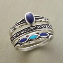 Revel in the beauty of blue with this turquoise and lapis ring set.