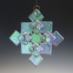 PRISM Clear Iridized Snowflake, Fused Glass Ornament Suncatcher