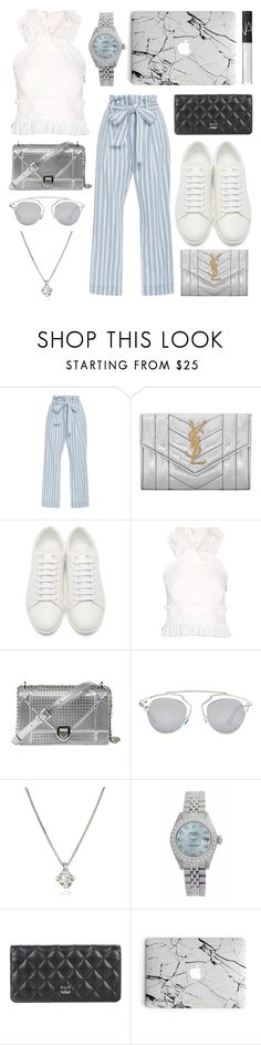 """""""Blue"""" by erikahanson ❤ liked on Polyvore featuring Frame Denim, Yves Saint Laurent, Antonio Berardi, Christian Dior, Forzieri, Rolex, Chanel and NARS Cosmetics"""