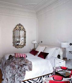 Ana Ros bedroom traditional modern antique mirror white bedding zebra fur
