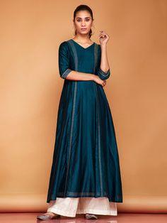 Teal Blue Embroidered Chanderi Suit with Beige Palazzo - Set of 3 Designer Anarkali Dresses, Designer Dresses, Designer Kurtis, Silk Anarkali Suits, Anarkali Frock, Cotton Anarkali, Silk Kurti, Salwar Suits, Indian Dresses