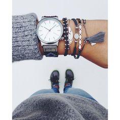Multiple Bracelets Grey Komono Watch