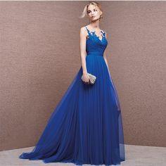 Charming Royal Blue Evening Dress, Lace Peom Dresses,