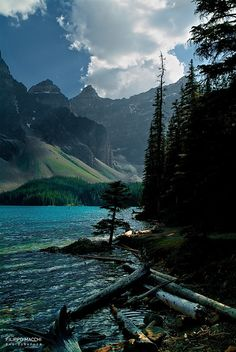 Moraine at sunset......Moraine Lake in the late afternoon in Banff National Park, Alberta Canada.