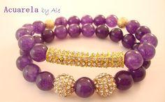 Purple bracelets Shiny bracelets Bling by AcuarelaAccessories, $45.00