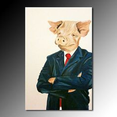 Etsy Corporate Pig Original Oil Painting Portrait Animal Welfare Sustainability Organic