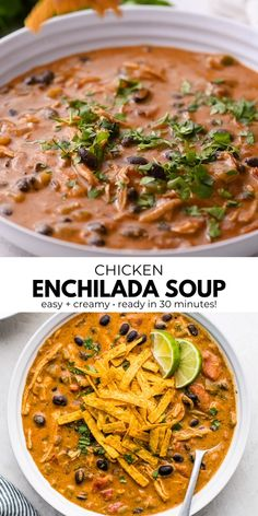 This Chicken Enchilada Soup recipe comes together in only 30 minutes and makes an easy and flavorful Mexican inspired soup! Full of shredded chicken, black beans, fire-roasted tomatoes, green chiles and enchilada sauce, this creamy soup will keep you full Chicken Soup Recipes, Easy Soup Recipes, Mexican Food Recipes, Healthy Dinner Recipes, Cooking Recipes, Keto Recipes, Chicken Soups, Keto Chicken, Chicken Enchilada Sauce Recipe
