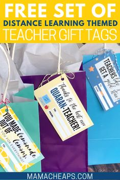 Quaran-Teacher Distance Learning Themed Teacher Gift Tags - - Free printable teacher gift tags to stick on gift or simply as a stand alone message. Great way to show appreciation while distance learning! Year End Teacher Gifts, Teacher Gift Tags, Back To School Teacher, Teacher Thank You, End Of School Year, Back To School Gifts, Best Teacher, Homemade Teacher Gifts, School Staff