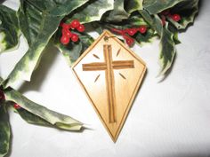 Hand Carved Christmas Ornament Wooden Cross by WhitcombManor, $10.00