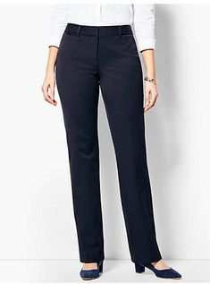 You'll be a standout in our Refined Bi-Stretch Barely Boot Pants - Curvy Fit - only at Talbots! Formal Trousers Women, Classy Outfits, Chic Outfits, Fashion Pants, Fashion Outfits, Curvy Fit, Pants Pattern, Work Attire, Office Outfits
