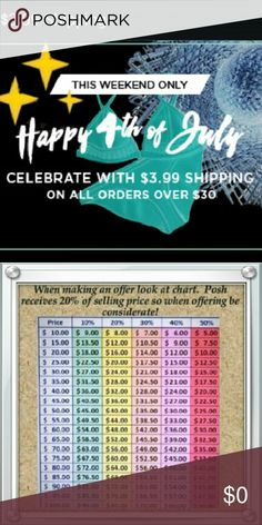 $3.99 shipping on all purchases of $30 or more! ~ All weekend long!!! ~ Now is the time to bundle & SAVE!!! ~ HURRY my items are reduced to lowest      possible prices! ~ Sorry no  additional discounts at these       prices.  ~ If using chart above please remember Posh      fees too. Example you pay $4 for my item:      I only get $1 & you pay $5, I get $2 & so on. Other