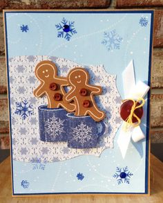 Hamilton's Homemade Hand Crafted Hot Chocolate and Gingerbread Cookie Men Snowflake Wintery Christmas Holiday Card on Etsy, $4.95