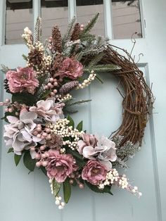 20 Beautiful Spring Wreath Decor Ideas Spring Wreath Decor Ideas Praise the arri. - 20 Beautiful Spring Wreath Decor Ideas Spring Wreath Decor Ideas Praise the arrival of spring, fres - Wreath Crafts, Diy Wreath, Wreath Ideas, Grapevine Wreath, Tulle Wreath, White Wreath, Hydrangea Wreath, Deco Originale, Christmas Door Decorations