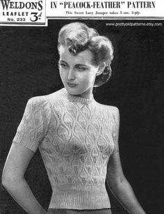 """Peacock Feather Stitch Ladies Jumper Petite 33"""" Bust Weldons 233 1940s Vintage Knitting Pattern Pdf Download"""