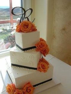 This is what I mean about the layers being askew. Instead of that dark color, it will be orange and the flowers will be smaller for these are too out there. or u can use whatever ends up being dominant in your bouquets and arrangements. Square Wedding Cakes, Wedding Cake Photos, Fall Wedding Cakes, Wedding Photo Albums, Wedding Cakes With Cupcakes, Wedding Set Up, Purple Wedding, Dream Wedding, Wedding Ideas