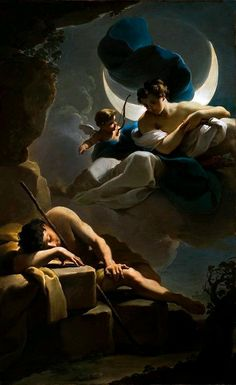 Selene ( the goddess of moon ) . She was the daughter by Hyperion and Theia ,and sister of Eos and Helios . She loved the mortal Endymion . She asked Endymion's father Zeus to grant him eternal youth so that he would never leave her.Zues granted her wish and put him into an eternal sleep. Every night , Selene visited him where he slept