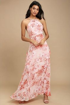d1756e9eec The Beautiful Expressions Pink Floral Print Maxi Dress is the loveliest of  them