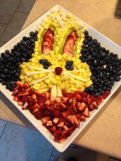 Easter Bunny fruit plate.