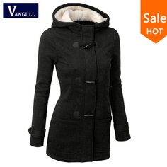 Autumn Hooded Horn Button Coat Women Winter Parkas Grey Outwear 2016 New Fashion Long Women Overcoat S-XL