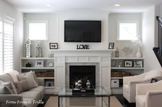 Super Genius Cool Tips: Living Room Remodel On A Budget Families livingroom remodel renovation.Small Living Room Remodel Ceilings living room remodel with fireplace focal points.Small Living Room Remodel Mobile Homes. Fireplace Shelves, Fireplace Built Ins, White Fireplace, Living Room With Fireplace, Fireplace Surrounds, Fireplace Design, Fireplace Ideas, Fireplace Windows, Modern Fireplace