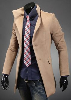 Clearance! $29.95 ! Men's High Collar Coat with Back Leather Details