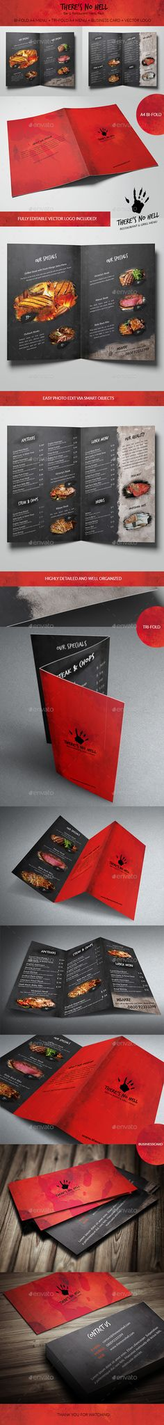 There's No Hell - Menu Pack Template #design Download: http://graphicriver.net/item/theres-no-hell-menu-pack/12165944?ref=ksioks