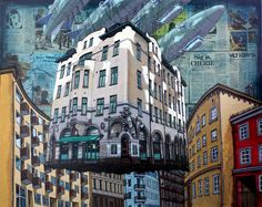 Check out Alexei Svetlov, Flygende hus forbi Benneches gate i Oslo (2019), From GALLERI RAMFJORD Sag Ja, Oslo, Gate, Mixed Media, Artsy, Street View, Artwork, Paintings, Work Of Art