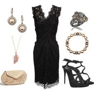 Lacey black dress complete outfit