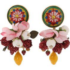 Dolce & Gabbana  Ornate Earrings (75,045 DOP) ❤ liked on Polyvore featuring jewelry, earrings, pink earrings, enamel jewelry, dolce gabbana earrings, earring jewelry and earrings jewellery
